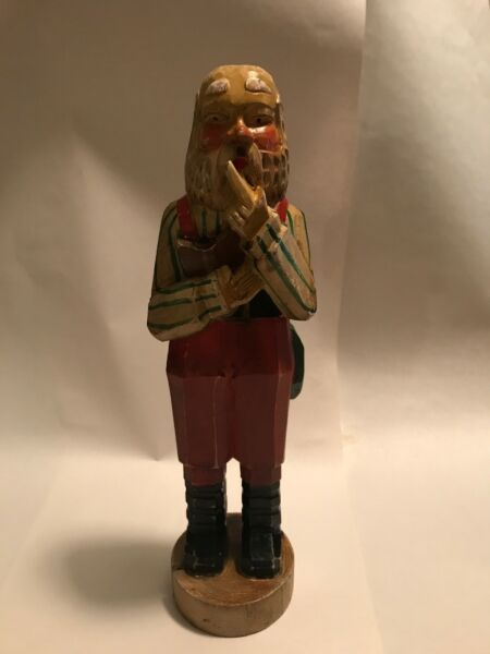 Hand Carved Wooden Santa For Christmas In A Thinking Pose $10.00