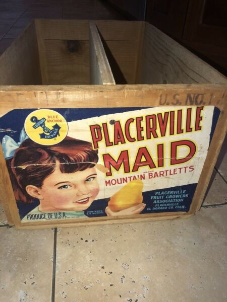 1925 Wooden Produce Crate Placerville Bartlett  Pears Box Advertising