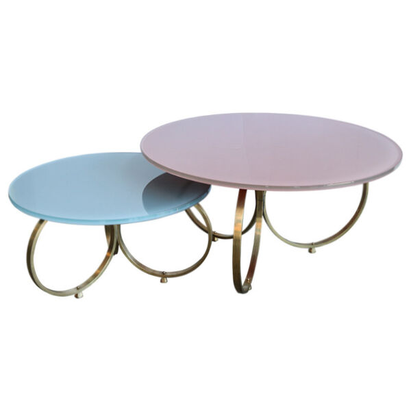 Set of 2 Custom Brass Coffee Tables with Reverse Painted Glass Top
