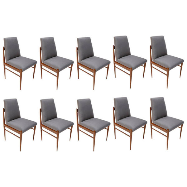 Set of Ten Grey Linen Brazilian Mid-Century Dining Chairs by L'Atelier 1960s