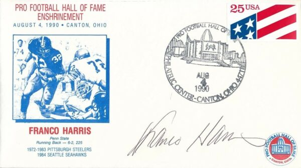 Franco Harris Signed First Day Cover Autograph Auto PSADNA AE85593