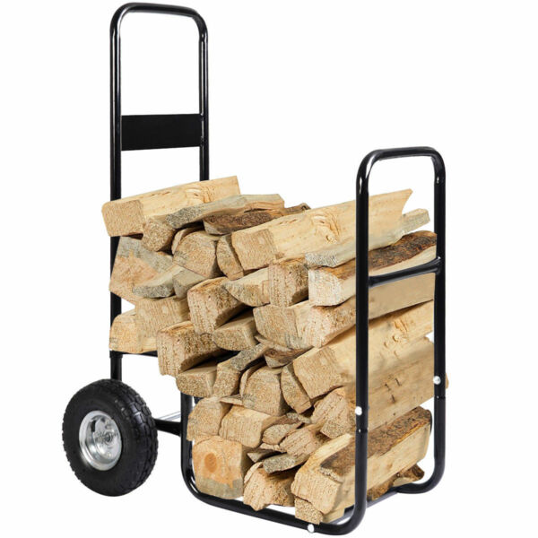Portable Firewood Log Carrier Wood Hauler Cart Rack Mover Caddy Dolly Rolling