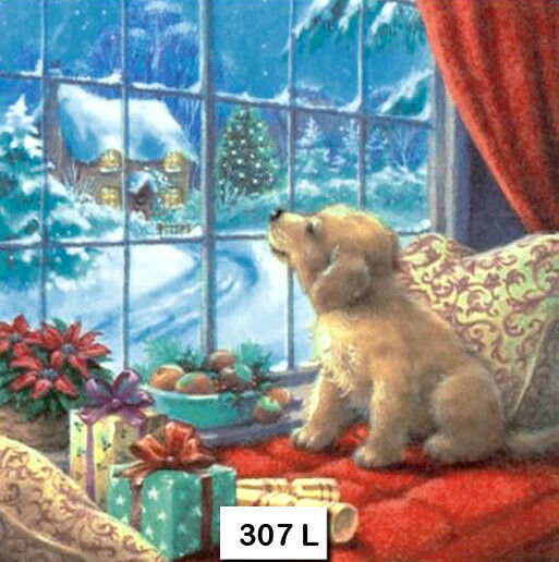 307 TWO Individual Paper Luncheon Decoupage Napkins WINDOW SEAT CHRISTMAS DOG $1.98