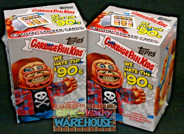 2019 GARBAGE PAIL KIDS WE HATE THE 90'S 2 BOX BLASTER LOT EXCLUSIVE STICKER CARD