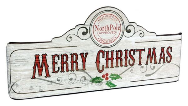 Metal 'Merry Christmas' Banner Wall Sign with Vintage Design 18