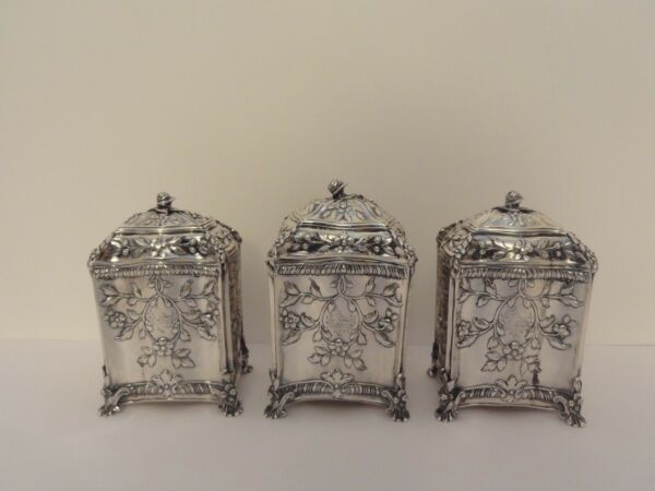 3 Antique Sterling Silver Tea Caddies English George III c.1771 - Repousse