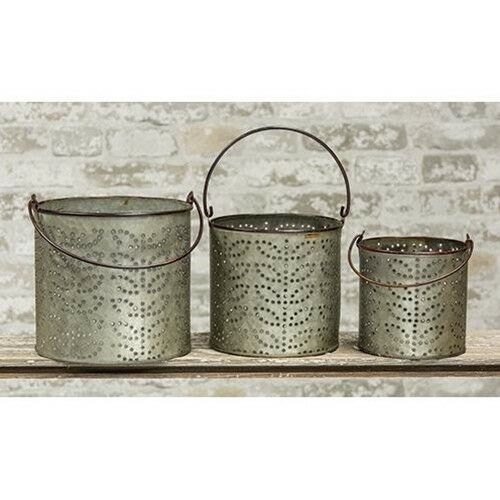New Primitive Rustic Antique Style SET 3 PUNCHED TIN BUCKET Candle Holder Pail