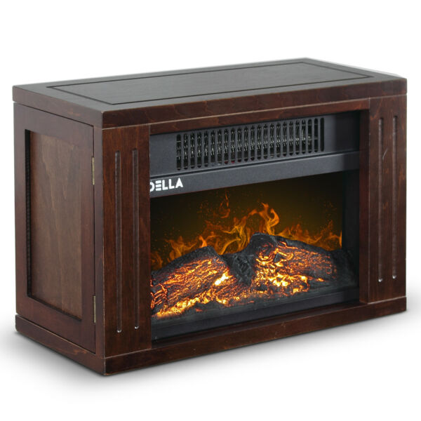 750W Mini Hearth Portable Fireplace Flame Log Wood Comfort Space Room Warmth