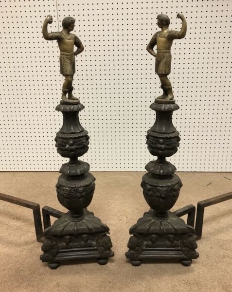 Antique Roman Winged Griffins Figure Figural Bronze Andirons Fire Dogs Chenets