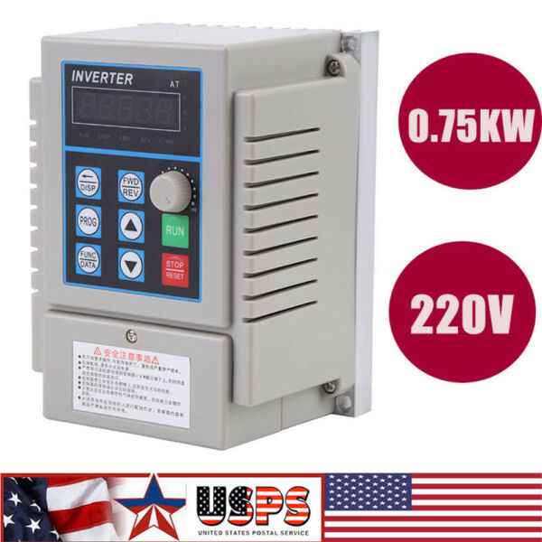 0.75KW 3HP VFD 5A 220V Single Phase Speed Variable Frequency Drive Inverter
