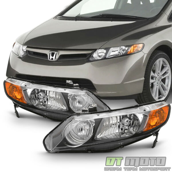 For Black 2006 2011 Honda Civic 4Dr Sedan Headlights Headlamps 06 11 LeftRight