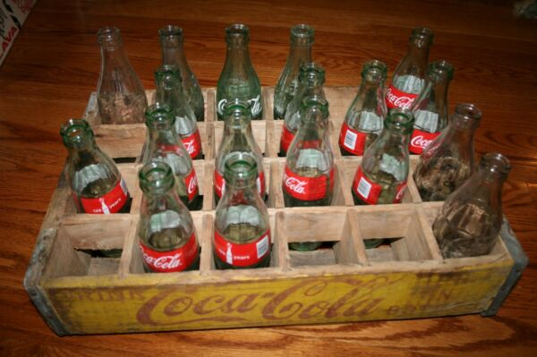Coca Cola Wooden Crate w Dividers Collectible Vintage Includes Bottles