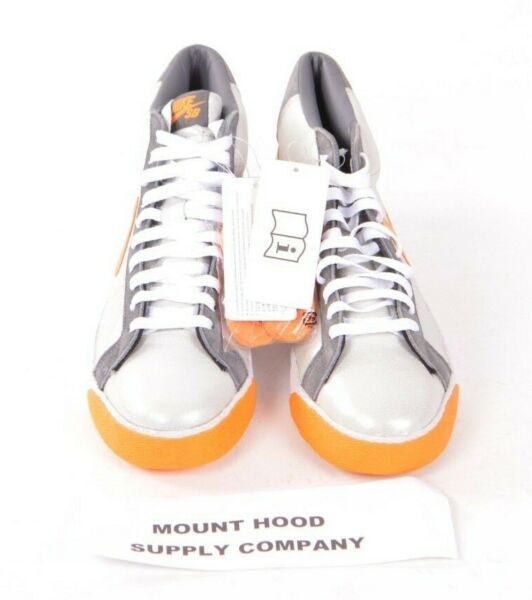 2008 NWOB MENS NIKE SB BLAZER MID SHOES $150 9 Medium Grey/ Shock Orange skater