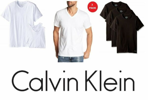 Calvin Klein Mens 3 Pack T shirt V-Neck Or Crew Neck Cotton Slim Fit Undershirts