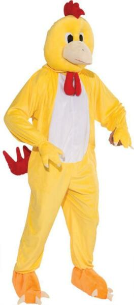 Adult Yellow Chicken Mascot Costume Farm Animal Fancy Dress Up Halloween Std
