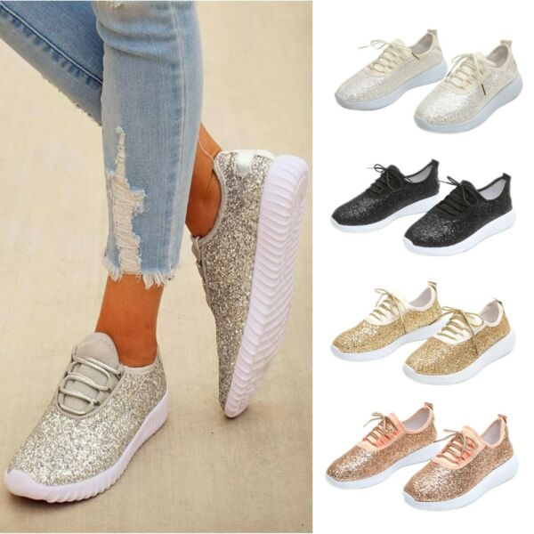 Women Sequin Glitter Sneakers Lace Up Lightweight Trainer Shoes Walking Athletic