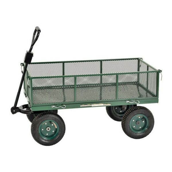 Steel Garden Utility Wagon Heavy Duty Pull Cart 1000 lb Capacity with Air Tires