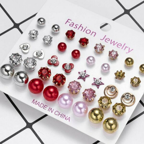 Fashion Women Crystal Rhinestone Pearl Earrings Set Women Ear Stud Jewelry Gifts