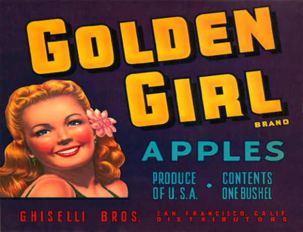 CRATE LABEL GOLDEN GIRL BRAND APPLES BLONDIE PRODUCE OF USA VINTAGE POSER REPRO
