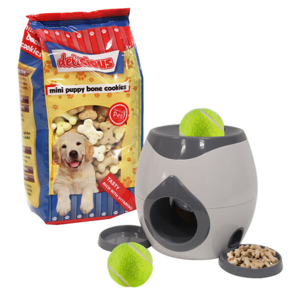 Dog Fetch Toy Treat Game Automatic Feeder Balls Food Tennis Training Interactive