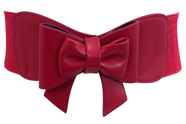 Dancing Days Vintage Pin-up Large Bow Accent Elastic Wide Stretch Waist Belt