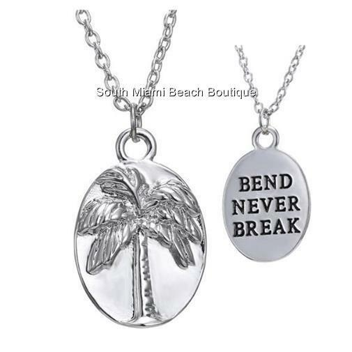 Silver Palm Tree Necklace Coconut Island Beach Bend Never Break Message Plated
