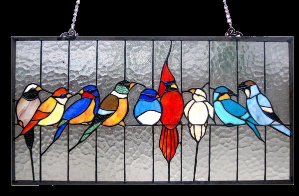 Stained Glass Window Panel 24quot; Long x 13quot; High Singing Birds Tiffany Style