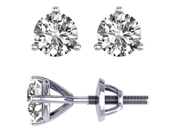 I1 G 0.90 Ct Natural Diamond Martini Set Solitaire Stud Earrings 14K White Gold