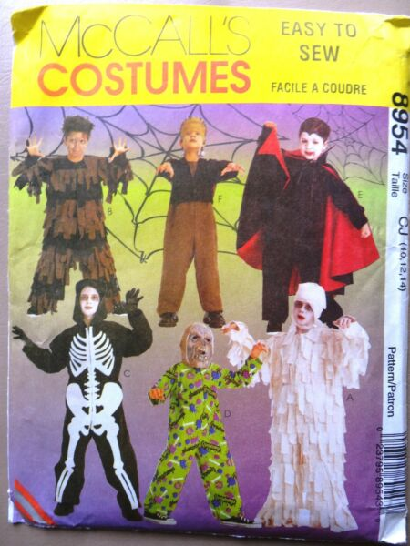McCall#x27;s 8954 Kids Boys Scary Costumes Mummy Skeleton Vampire SEW PATTERN 10 14