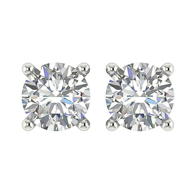 I1 G 0.55Ct Natural Diamond Solitaire Stud Earrings White Gold Screw Back 4.10MM