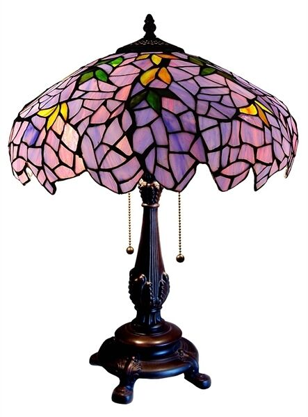 Tiffany Style Stained Glass Wisteria Grape Design Table Lamp 16quot; Shade 24quot; Tall