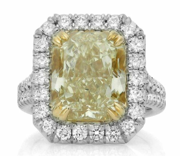 GIA CERTIFIED 9.18CT WHITE & FANCY CANARY DIAMOND 18KT YELLOW GOLD PLATINUM RING