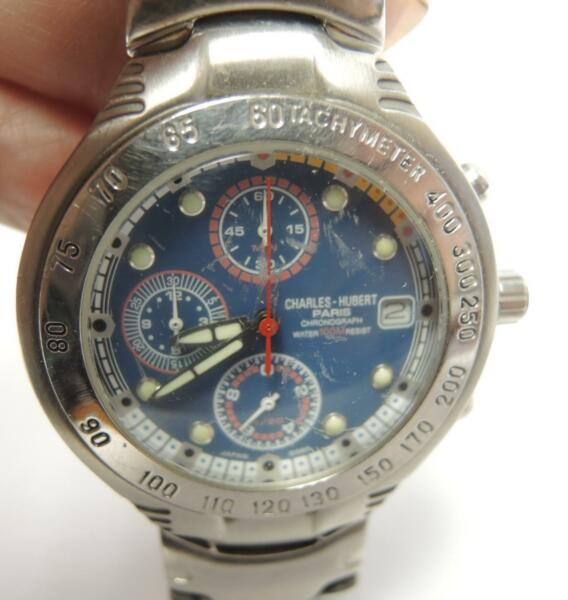 Charles-Hubert Paris Men's3 Register Stainless Steel Chronograph