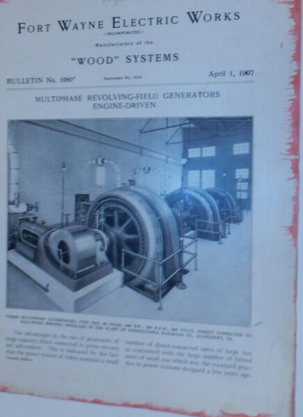 Fort Wayne Electric Works Wood Systems Bulletin No.1080 Multiphase $24.00