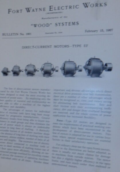 Fort Wayne Electric Works Wood Systems Bulletin No.1091 Direct Current Motors $30.00