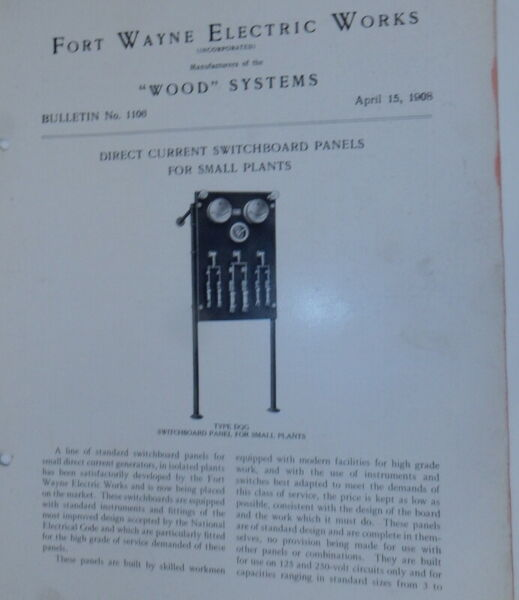 Fort Wayne Electric Works Wood Systems Bulletin No.1106 Direct Current $18.00