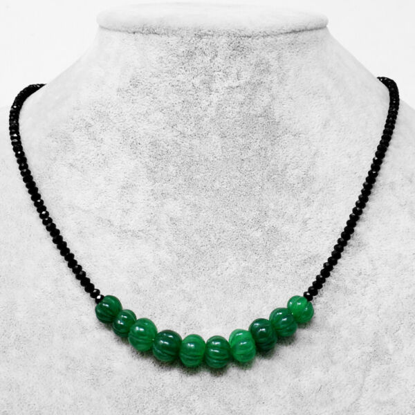 80.00 Cts Earth Mined Emerald & Black Spinel Faceted Beads Necklace NK 21E60
