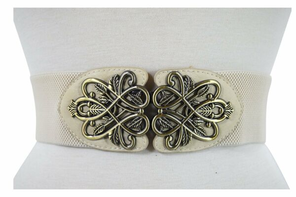 Vintage Design Metal Leaves Buckle Elastic Wide Band Belt