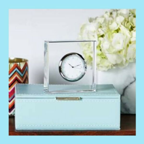 ANNA New York Modern Lucite Clock Etched on Bottom quot;Your time is nowquot; Exquisite
