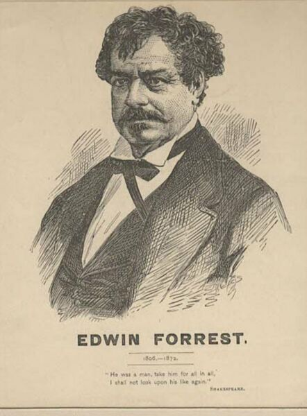 *ASTOR PLACE RIOTS GREAT ACTOR EDWIN FORREST MAGNIFICENT 1872 ENGRAVING* $49.99