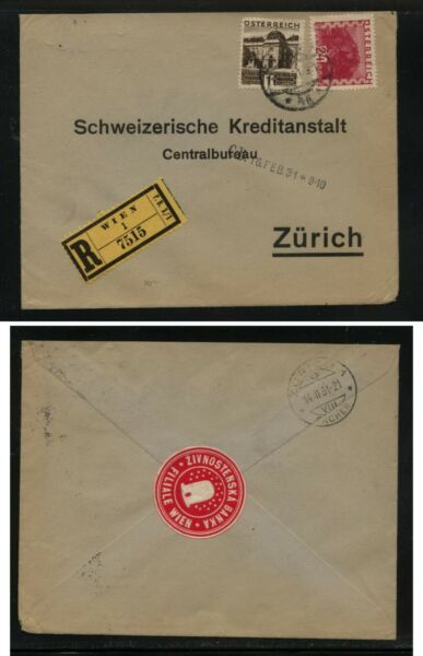 Austria  332 338  on  registered  cover   label on back 1931     MS0212