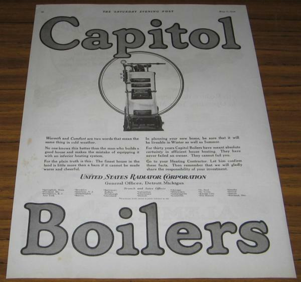 1924 AD CAPITOL BOILERS HEATING SYSTEM DETROITMI $9.68