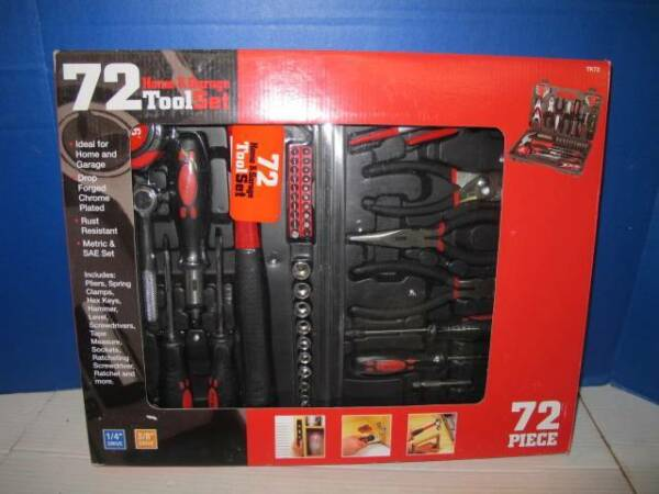 GREAT NECK GNSTK72 HOME & GARAGE 72 PC TOOL SET METRIC & SAE W CARRYING CASE