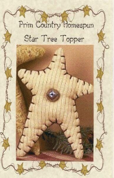 PRIM COUNTRY STAR TREE TOPPER w Bell for smaller TREES PATTERN ONLY $7.99