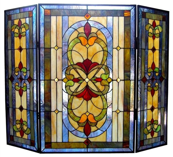 Fireplace Screen Medallion Floral Tiffany Style Stained Glass 3 Piece 31 x 40