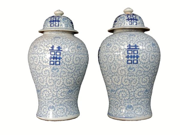 Chinese Hand painted Blue & White Double Happiness Ginger Jars  Pair 20