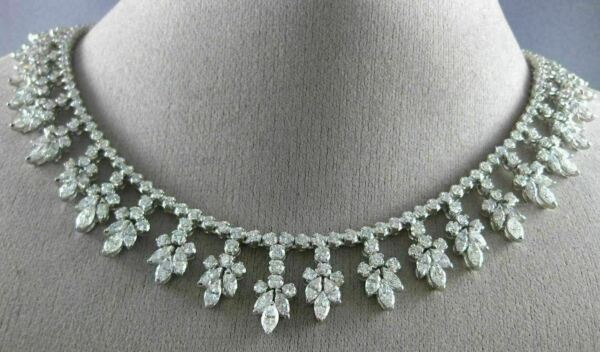 ESTATE LARGE 21.24CT DIAMOND 18K WHITE GOLD MULTI LEAF FLOWER DROP NECKLACE 1933