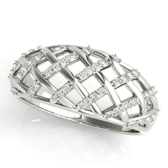 NEW LADIES 14k WHITE GOLD BASKET WEAVE RIGHT HAND DIAMOND RING BAND