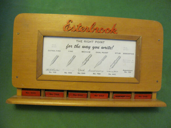 Vintage Esterbrook Fountain Pen Nib Wooden Display Case with 6 boxes of Pen Nibs