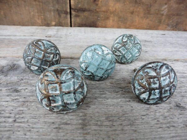 Cast Iron KNOB Aqua Gold and White Old Style Dresser Cabinet Drawer Pull